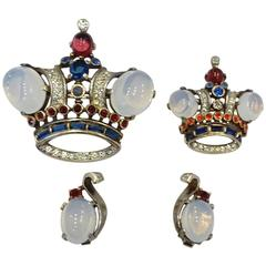 RARE Book Piece 1940s Vintage Trifari Sterling Crown Brooches & Earrings