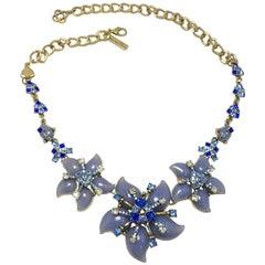 Oscar de la Renta Blue Floral Necklace