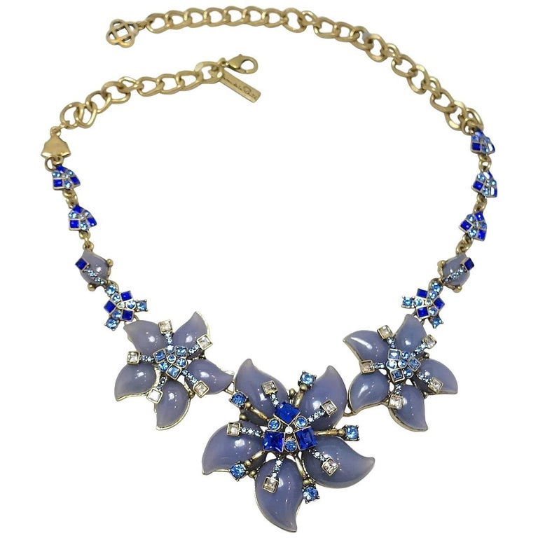 Signed Oscar de la Renta Blue Floral Necklace For Sale