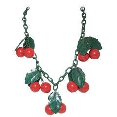 Vintage 1960's Cherries & Leaves Necklace