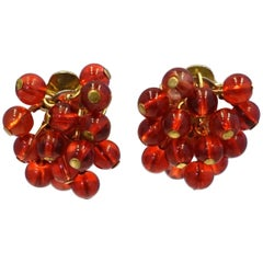 DeMario Signed Vintage Red Bead Earrings, 1950s