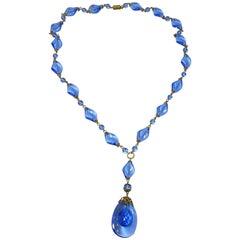 Deco Vintage 1930s Czech Crystal Drop Necklace