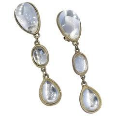 Clear Cabochon Stone Dangle Earrings