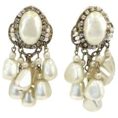 Vintage Signed DeMario Faux Pearl Dangle Earrings
