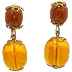 Vintage 1960s Faux Amber & Red Bead Drop Earrings