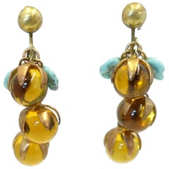 Vintage Deco 1930s Amber & Turquoise Leaves Glass Dangle Earrings