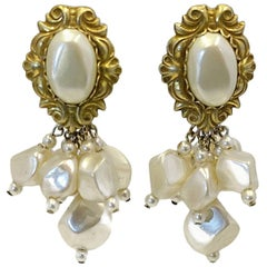 Vintage 1950s Signed DeMario Faux Pearl Dangle Earrings
