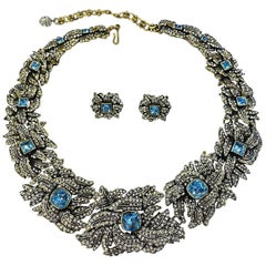 Magnificent Signed Heidi Daus Blue & Clear Crystal Necklace & Earrings
