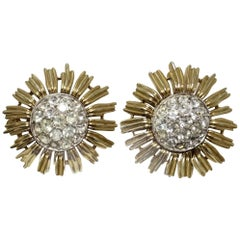Vintage 1950s Trifari Floral Rhinestone Clip Earrings