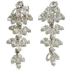 Vintage 1970s Dazzling Dangling Crystal Earrings