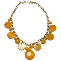 Deco Vintage 1930s Butterscotch Bakelite Drop Necklace