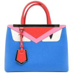Fendi Petite 2Jours Multi Color Calfskin Leather Top Handle Bag
