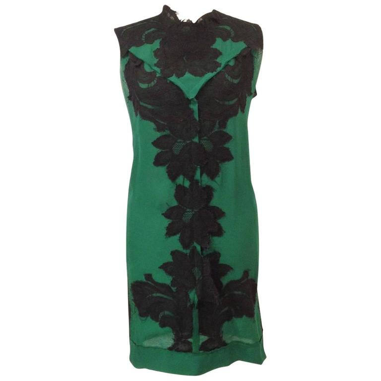 LANVIN Sleeveless Cocktail Dress 'Les 10 ans' in Black and Green Silk Size 36FR