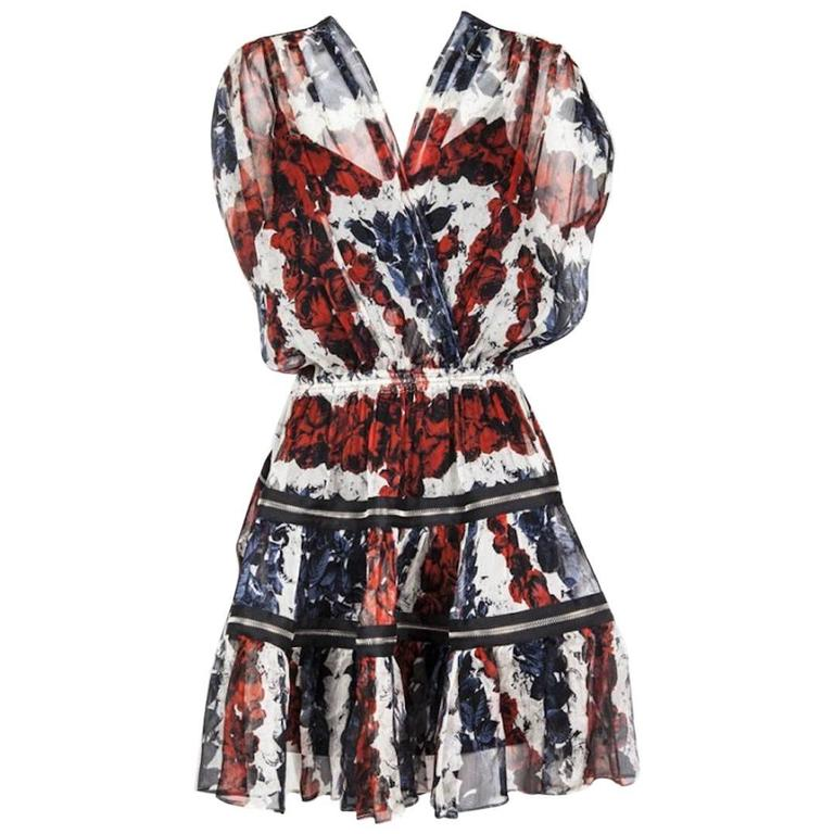 Jean Paul Gaultier Dress in Chiffon Printed with Roses Size 36