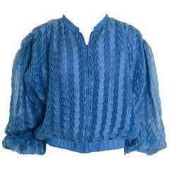 1980s KRIZIA Turquoise Silk Pleateds Bomber Jacket