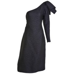 1980s YVES SAINT LAURENT Rive Gauche Black Embossed One Shoulder Dress