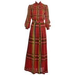 1970s VALENTINO Boutique Tartan Suit Dress