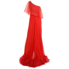 1970s VALENTINO BOUTIQUE Red Silk One Shoulder Ostrich Feathers Long Dress