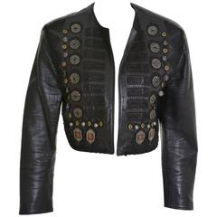 1980s GIANNI VERSACE Leather Metal Embroidery Bolero Jacket