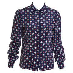 1980s MILA SCHÖN Abstract Silk Blouse Shirt