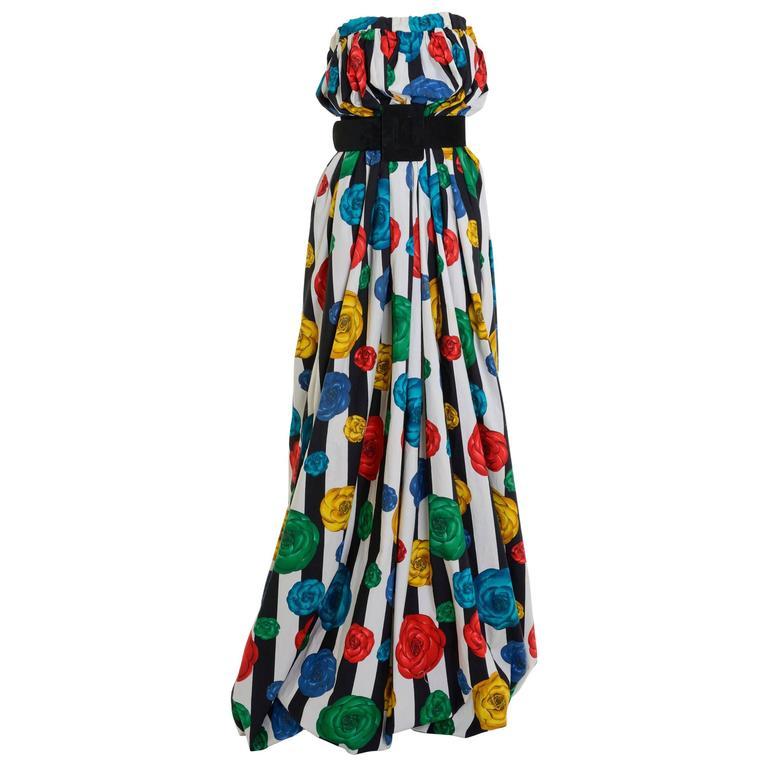 1980s CHANEL BOUTIQUE Camelia Print Bubble Dress Skirt