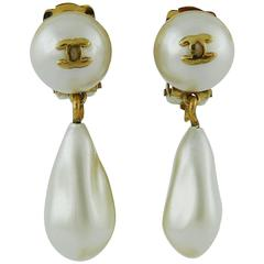 Chanel Vintage Faux Pearl Dangling CC Earrings