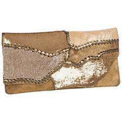 BALMAIN Evening Clutch in Golden Quadri-Fabrics