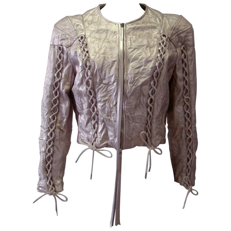 Alexander McQueen Wrinkled Short Leather Jacket