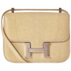 Hermès Lizard Constance Micro Bag Blanc Casse