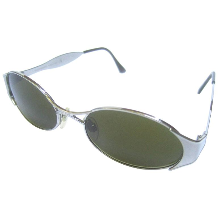 Yves Saint Laurent Sleek Italian Silver Metal Womens Sunglasses