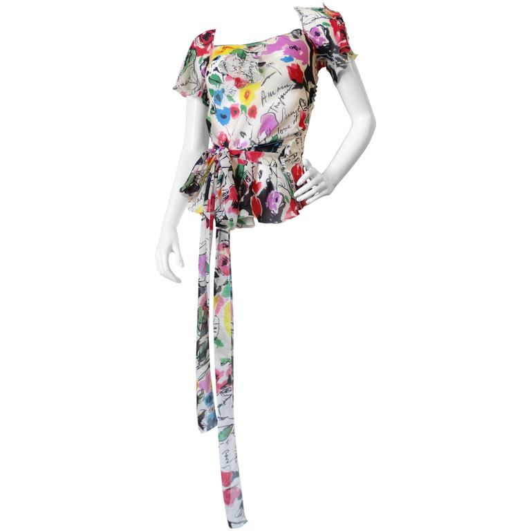 Sonia Rykiel Watercolor Floral Chiffon Top