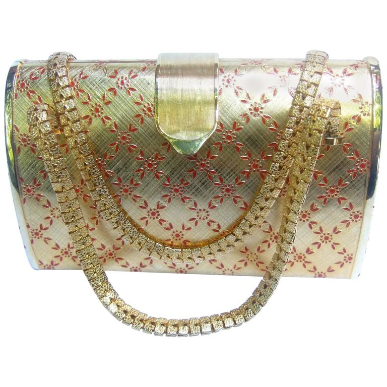 Saks Fifth Avenue Italian Opulent Gilt Metal Evening Bag ca 1970 For Sale