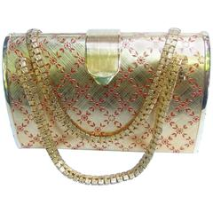 Saks Fifth Avenue Italian Opulent Gilt Metal Evening Bag ca 1970