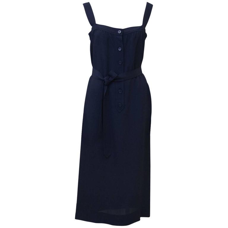 1970's Givenchy Navy Blue Day Dress