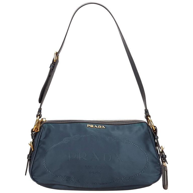 Blue Prada Nylon & Leather Shoulder Bag