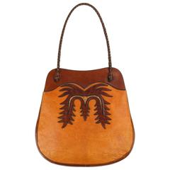 WYLY'S c.1970's Leather & Ostrich Handcrafted Southwestern Shoulder Bag Purse