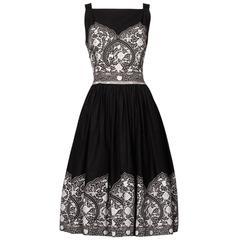 1950s Vintage Black + White Cotton Patio Dress with Rhinestone Detail
