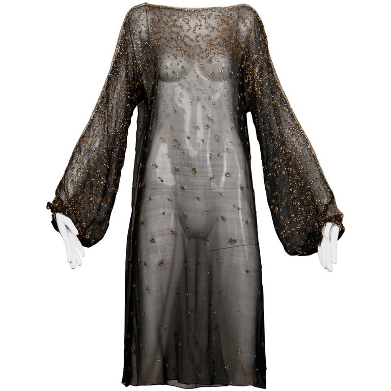 1970s Halston Vintage Black Sheer Silk Metallic Silver + Gold Beaded Dress For Sale