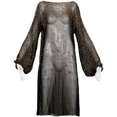 1970s Halston Vintage Black Sheer Silk Metallic Silver + Gold Beaded Dress