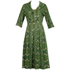 1950s Jerry Gilden Vintage Green Paisley Wool Pleated Dress with Ascot Tie