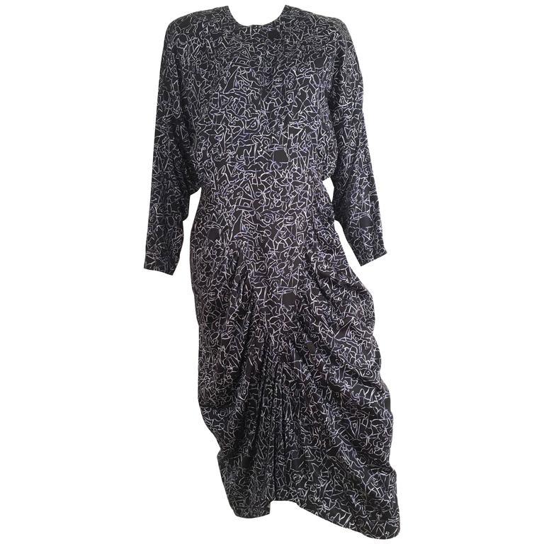Nicole Miller 1980s Cotton Aesthetic Design Dress Size 10.