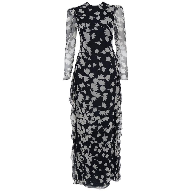 1982 Galanos Couture Black White Floral Print Chiffon Long-Sleeve Tiered Gown  For Sale