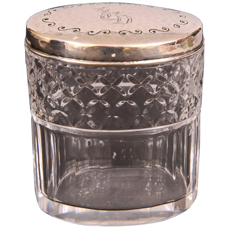 Tiffany & Co. Sterling Silver Topped Cut Glass Jar