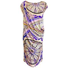 Emilio Pucci Silk Sheath With Circle Designs in Purple and Lavender