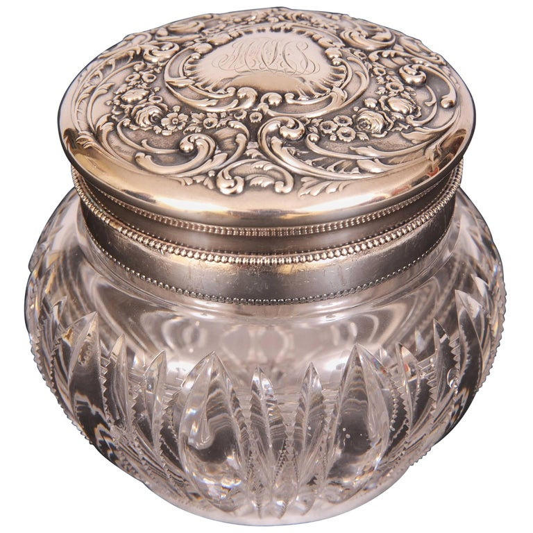 Sterling Silver and Cut Glass Oversized Dresser Jar with Powder Puff Holder