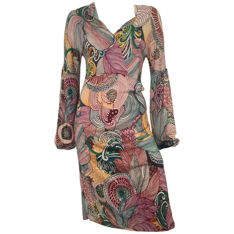 Missoni Home Ambrogina Folding Chair In Printed Satin: Missoni Silk Jersey Long Sleeve Dress Size 6. For Sale At
