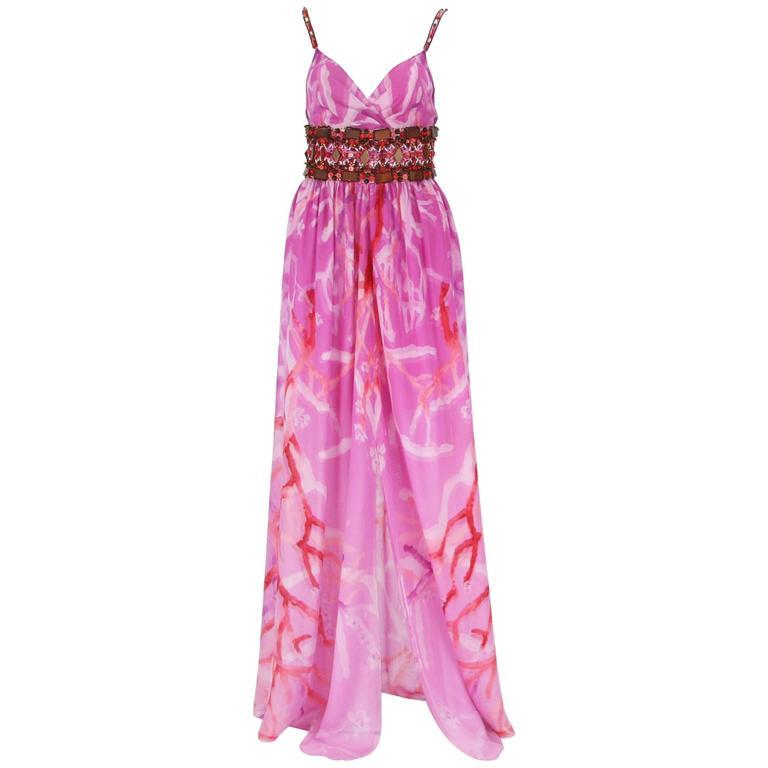 New Oscar de la Renta Silk Coral Print Embellished Summer Dress US 6