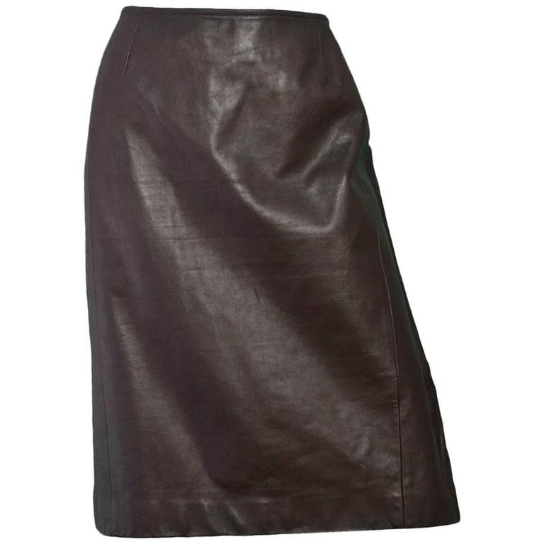 akris brown leather pencil skirt us14 for sale at 1stdibs