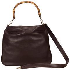 Dark Brown Gucci Bamboo Handle Satchel