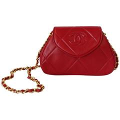1990s Chanel Red Lambskin Quilted Mini Bag